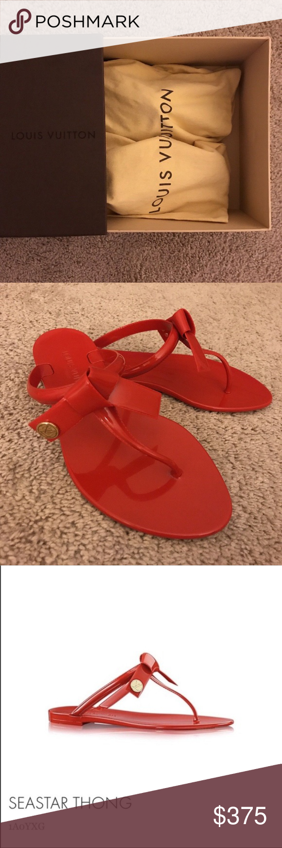 df88f9f9f724 Louis Vuitton Red Seastar thong sandal 37 Worn once- super comfortable jelly  sandal