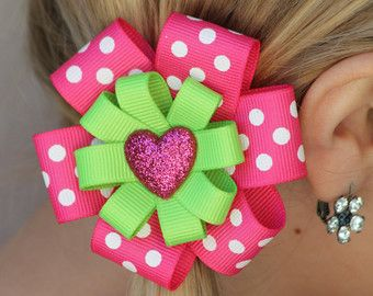 Lime Green & Pink Polka Dots with Glitter Heart Hair Clip Hair Bow, Preppy Pink and Green Heart Hair Bow, Hair Clip