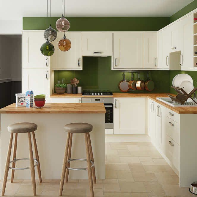 Green Kitchen Walls With Cream Cabinets: Hudson Cream Fitted Kitchen By Magnet. #creamkitchen