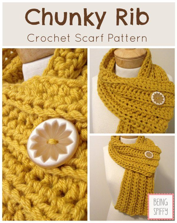 Chunky Rib Scarf Crochet Pattern Knit Crochet Pinterest