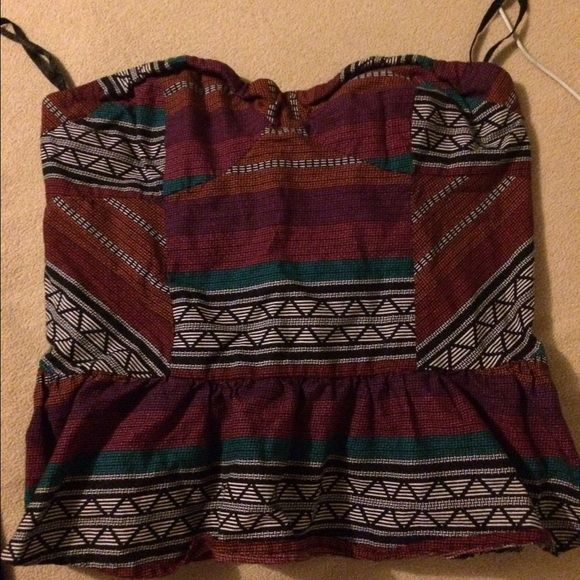 Strapless Crop Top Indian Strapless crop by Charlotte Russe. Beautiful patterns worn Once! Charlotte Russe Tops Crop Tops
