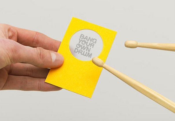 """Our thinking centred on referencing the name and hinting to their services – we achieved this with a drumstick pencil and drum skin business cards giving Bang Your Own Drum an identity that's easily heard."" (Advertising Agency: The Consult, UK)"