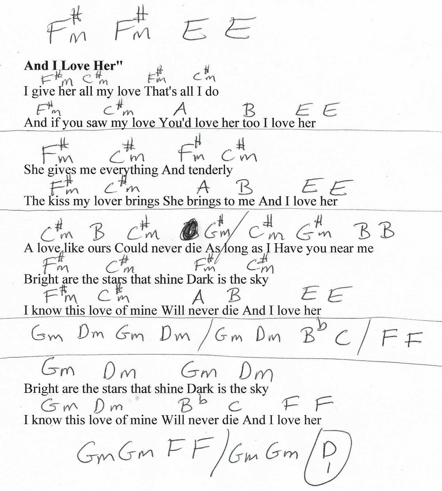 And I Love Her Beatles Guitar Chord Chart in E and F REAL KEY ...
