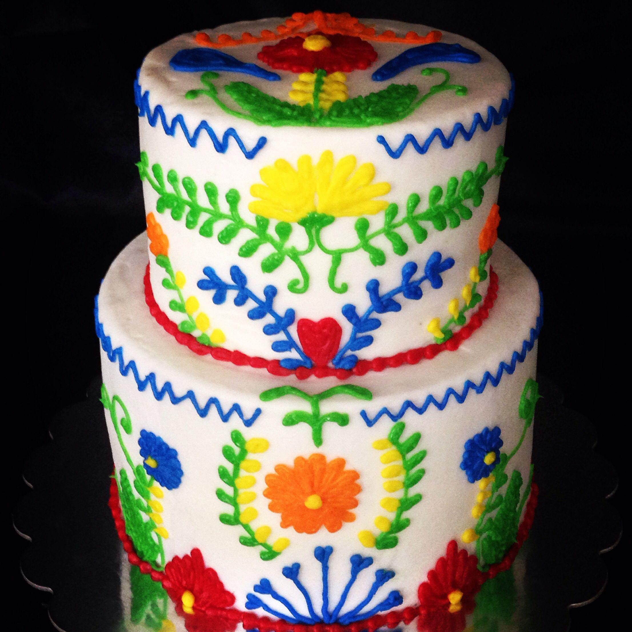 Mexican Embroidery Cake  Fiesta Cinco de Mayo