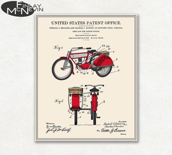 MOTO side-car brevet 1912, Vintage Fine Art Print affiche, plan, de couleur ou noir et blanc