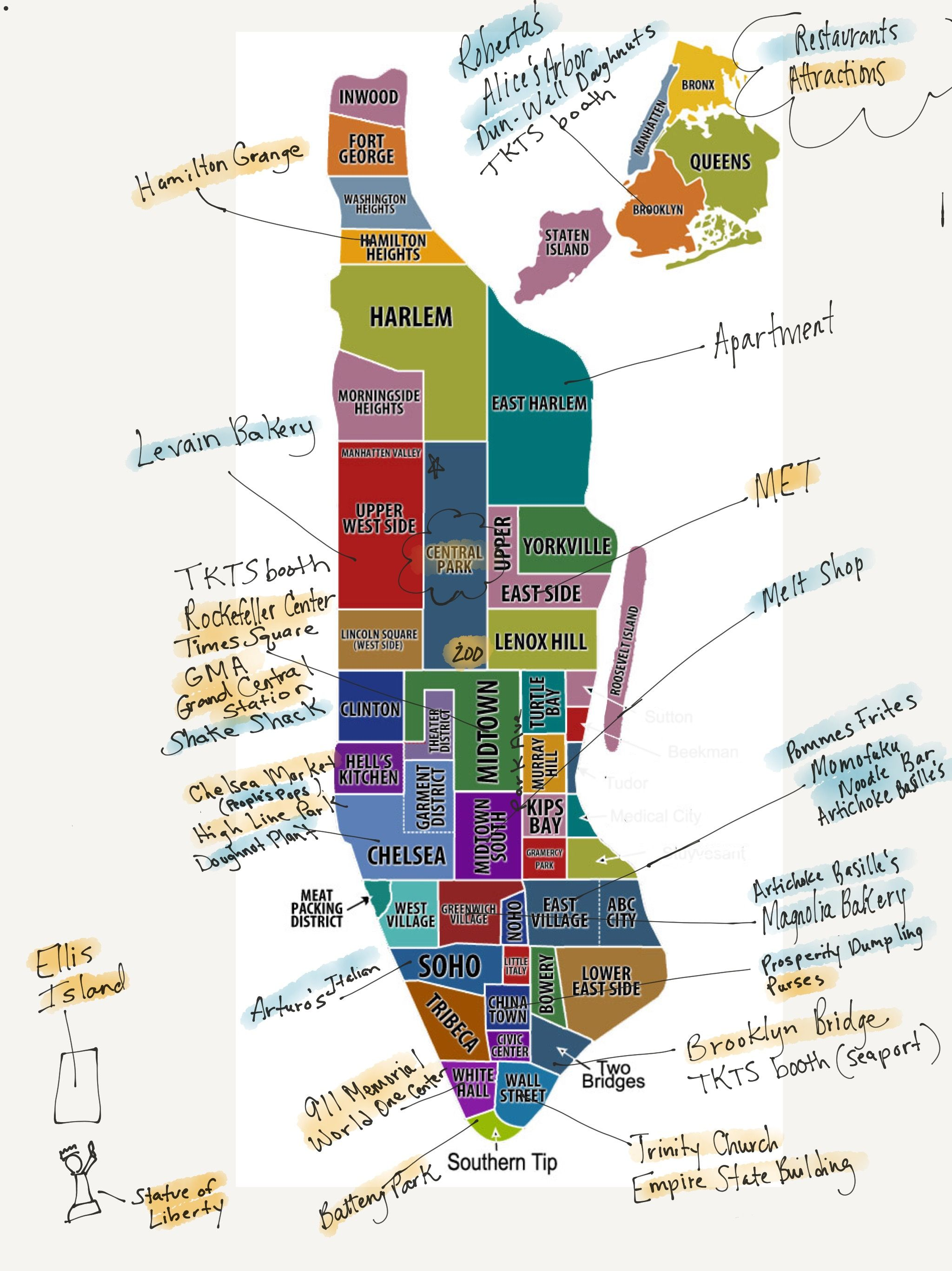 Attraction Map Of New York.My Friend S Handwritten Map Of Good Eats And Major Attractions