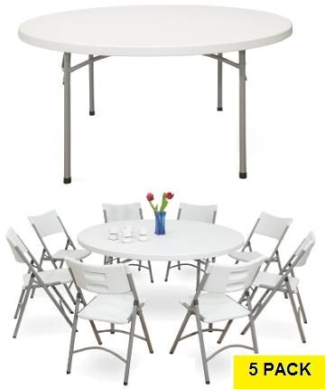 Round Tables Nps Bt60r 60 In Gray Speckled Top Folding Frame 5 Pack Round Folding Table Folding Table Outdoor Folding Table
