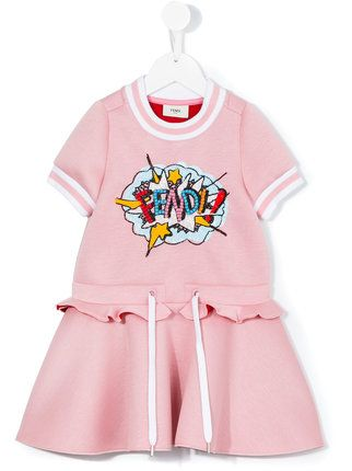 32e70056 Fendi Kids embellished exploding logo dress   Kids' Clothing, Shoes ...