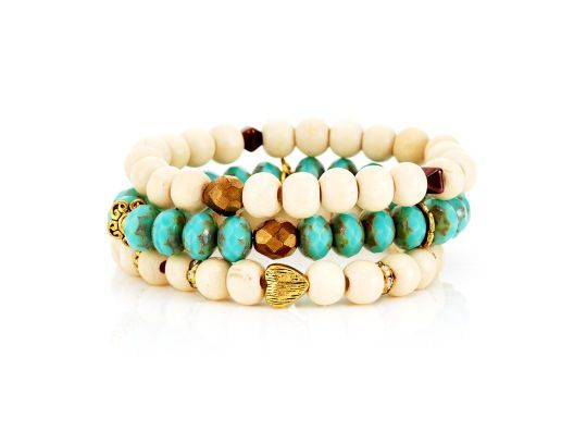 {Cannes bracelet stack} wood, brass, turquoise - lovely combination; add to a summer maxi dress + go! :)