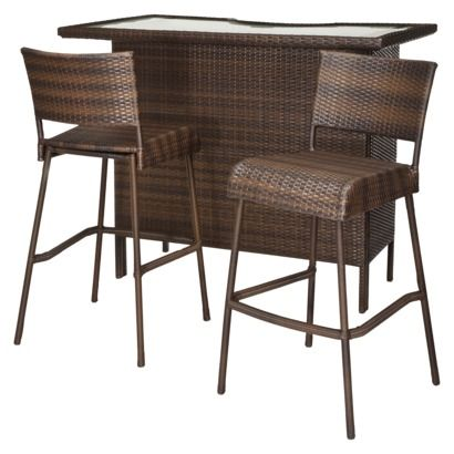 Rolston 3 Piece Wicker Patio Bar Set   Threshold™