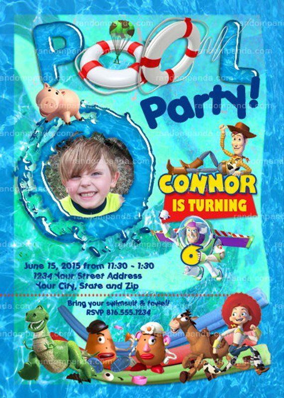 personalize toy story pool party invitation buzz lightyear swimming