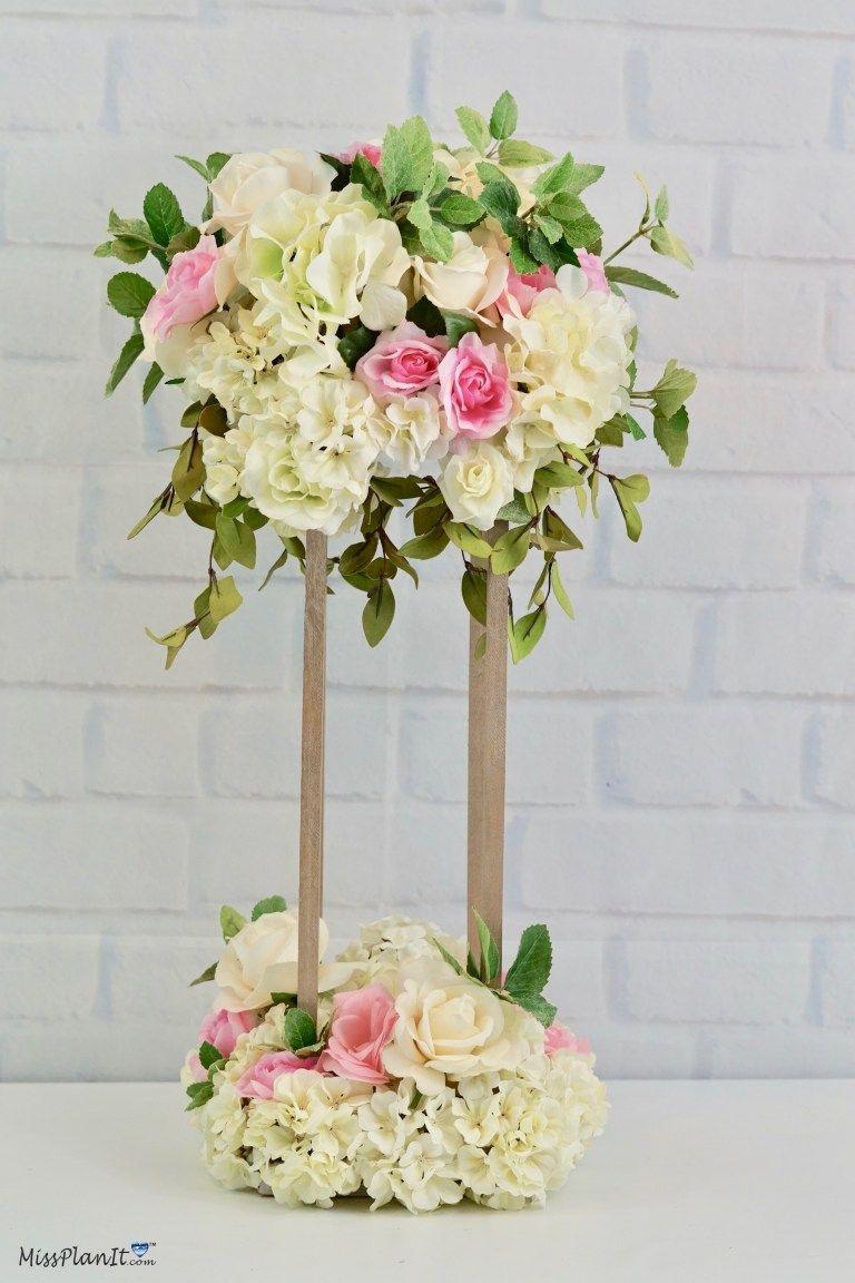 DIY Tall Geometric Gold Stand Modern Wedding Centerpiece