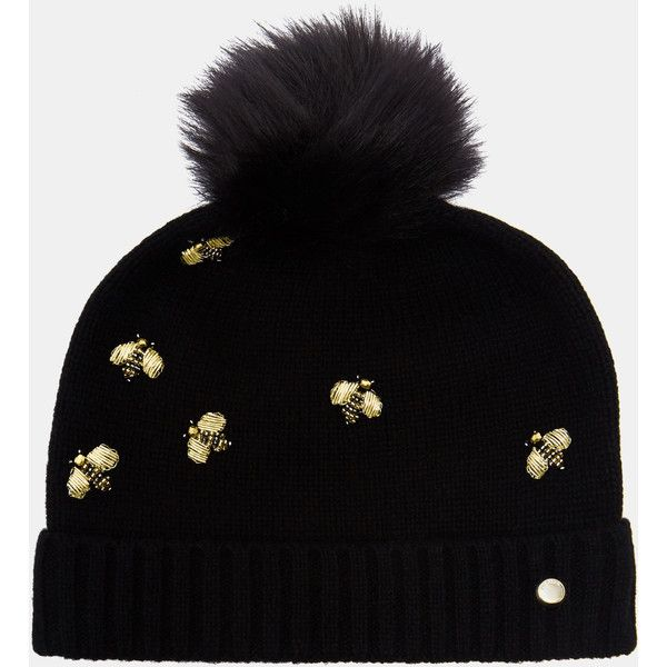 60dabee91 Embellished Bee beanie hat featuring polyvore women's fashion ...