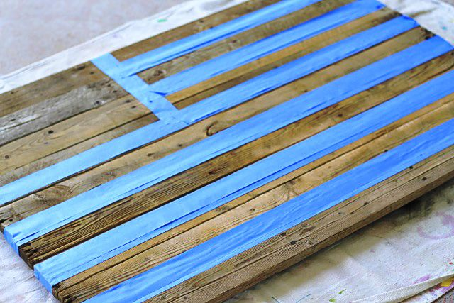 Distressed Wood Pallet American Flag