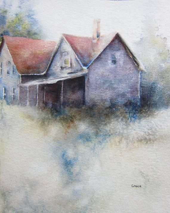 Old Farmhouse Original Watercolor Painting 8x10 By Lgraceoriginals