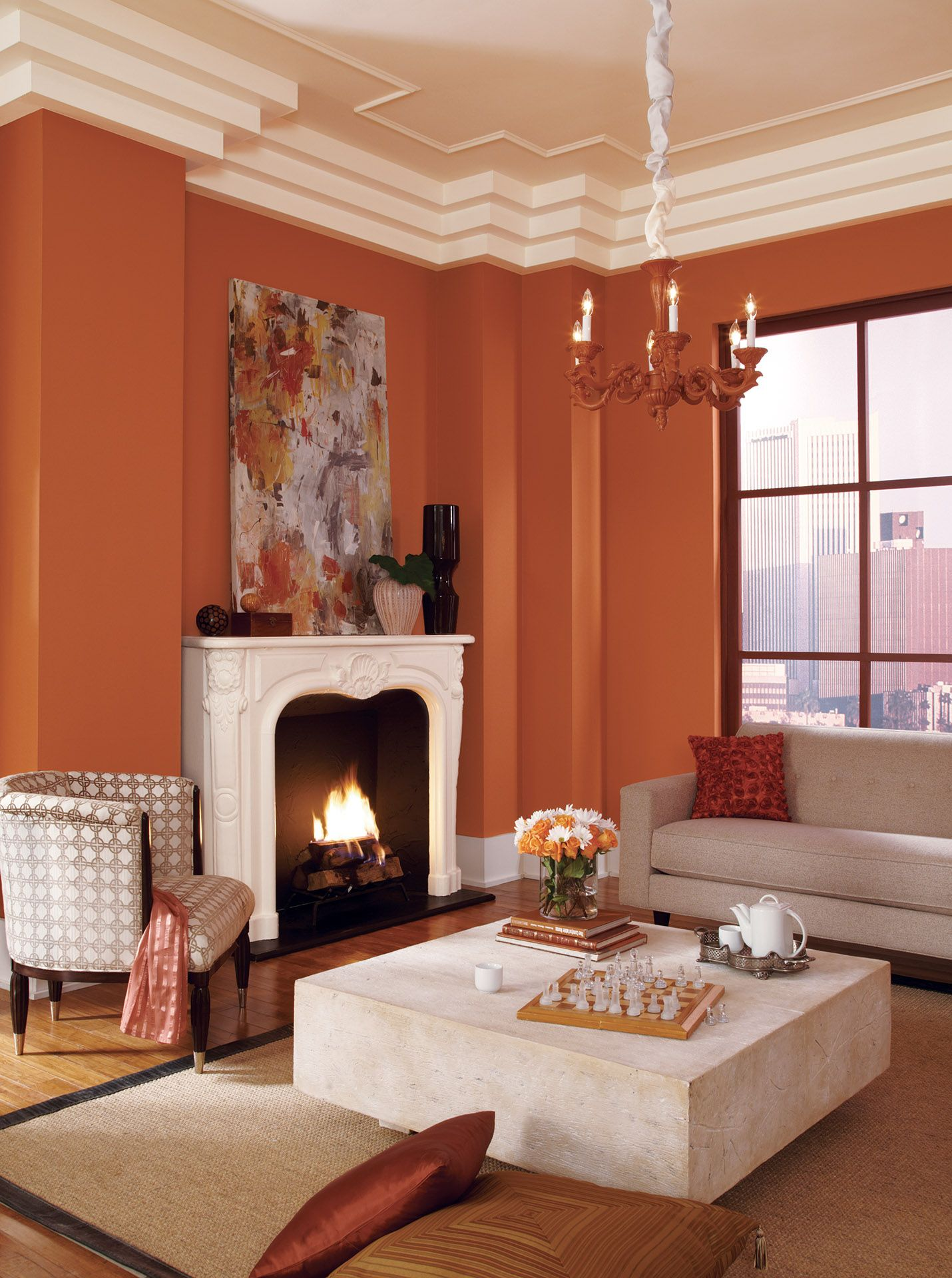 Autumn Living Room Decorating: Color On Wall: Autumn Stroll 10A-4 Color On Trim: Linen CW