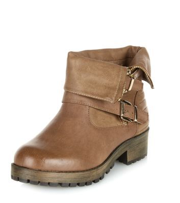 Wide Fit Brown Chunky Zip Biker Boots