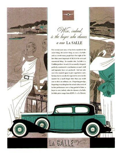 LaSalle V-8 Advertising (1932): Town Coupe - Illustrated by Robert Fawcett