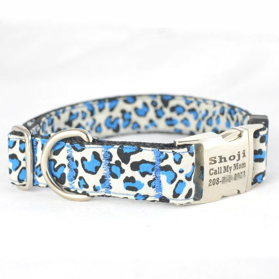 Dog Collar with Personalized Buckle blue by CDAdesigns on Etsy