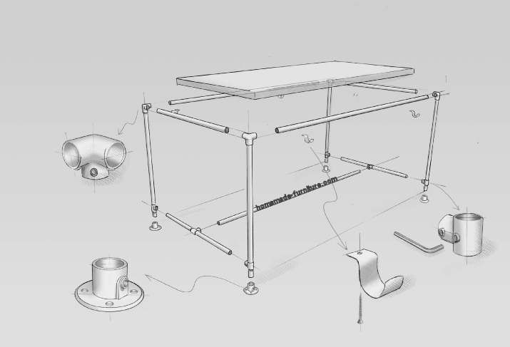 Construction drawing how to make a scaffold tube table frame with ...