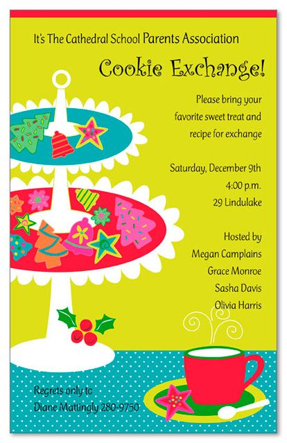 Cute Invitation For Holiday Coffee Cookie Swap Invitations
