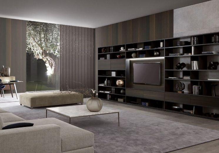 Librerie moderne per soggiorno | Camera da letto giallo e grigio ...