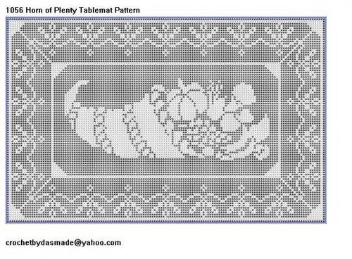1056 Horn of Plenty Cornucopia Filet Crochet Doily Afghan Pattern ...