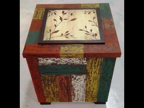 Como hacer decapado en una caja con imitaci n de madera - Manualidades con cajas de madera ...