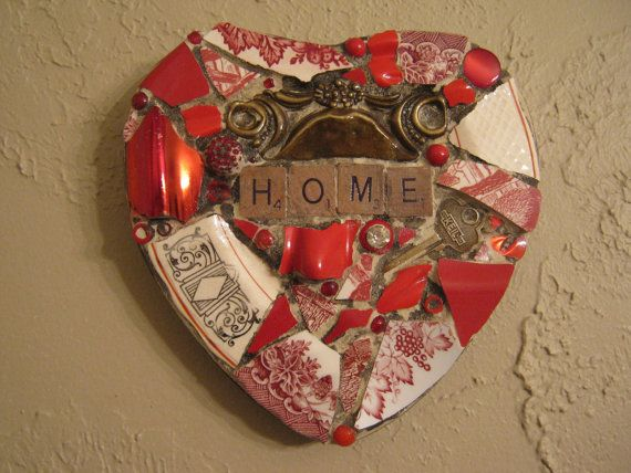 HOME Mosaic Heart in Reds with Vintage Hardware and Key Mosaic Art
