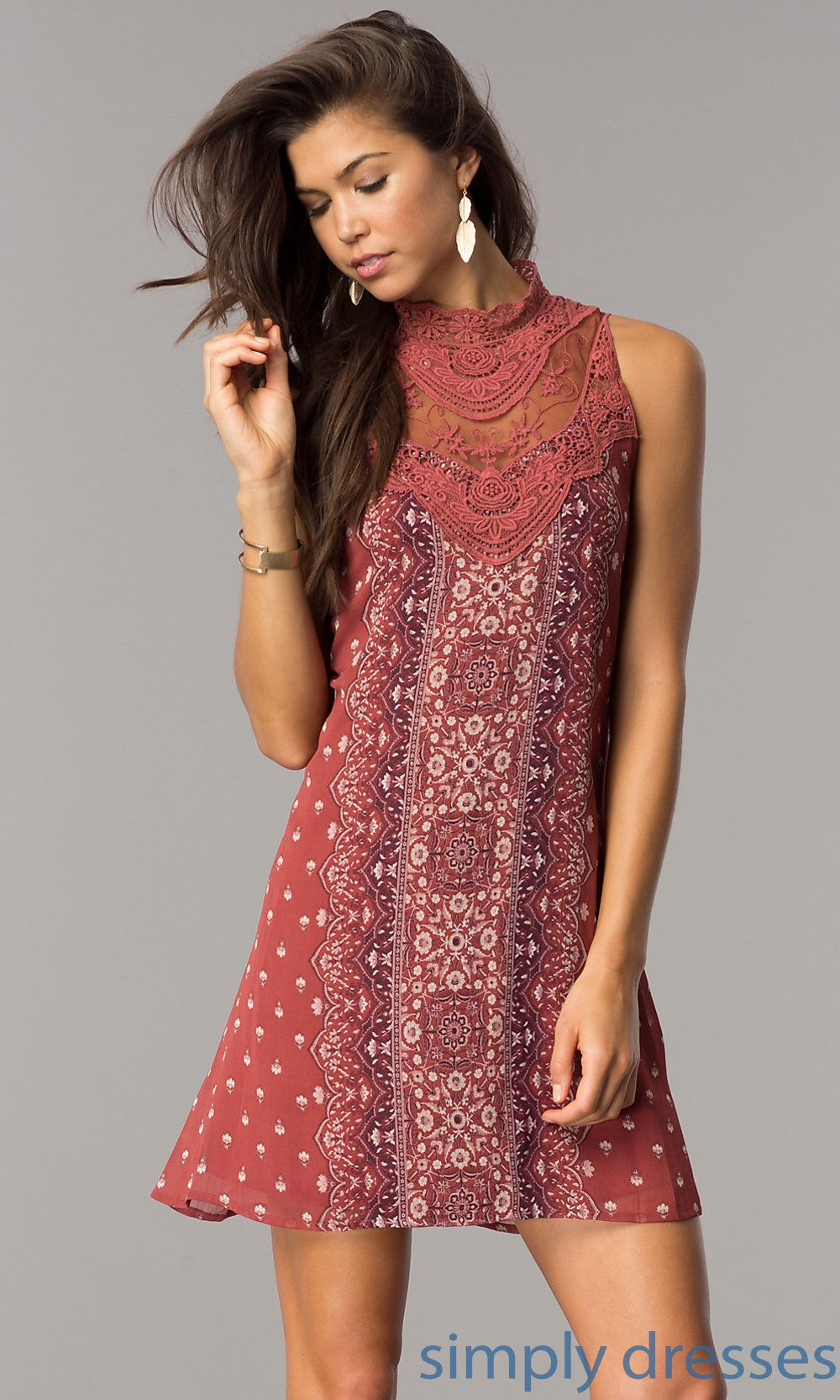Casual short chiffon print shift dress with lace lace applique