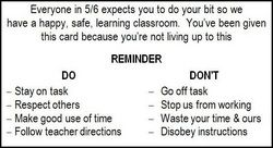 "a ""warning card"" for when students are off task"