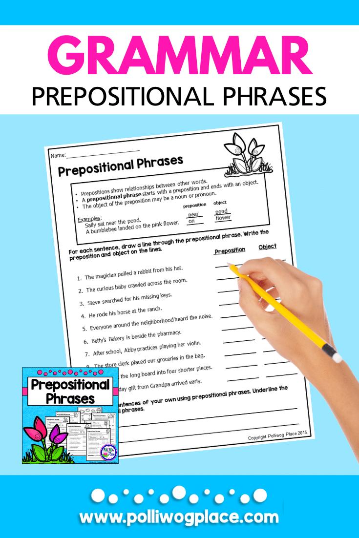 medium resolution of Prepositional Phrases - Grammar Practice Pages   Prepositional phrases