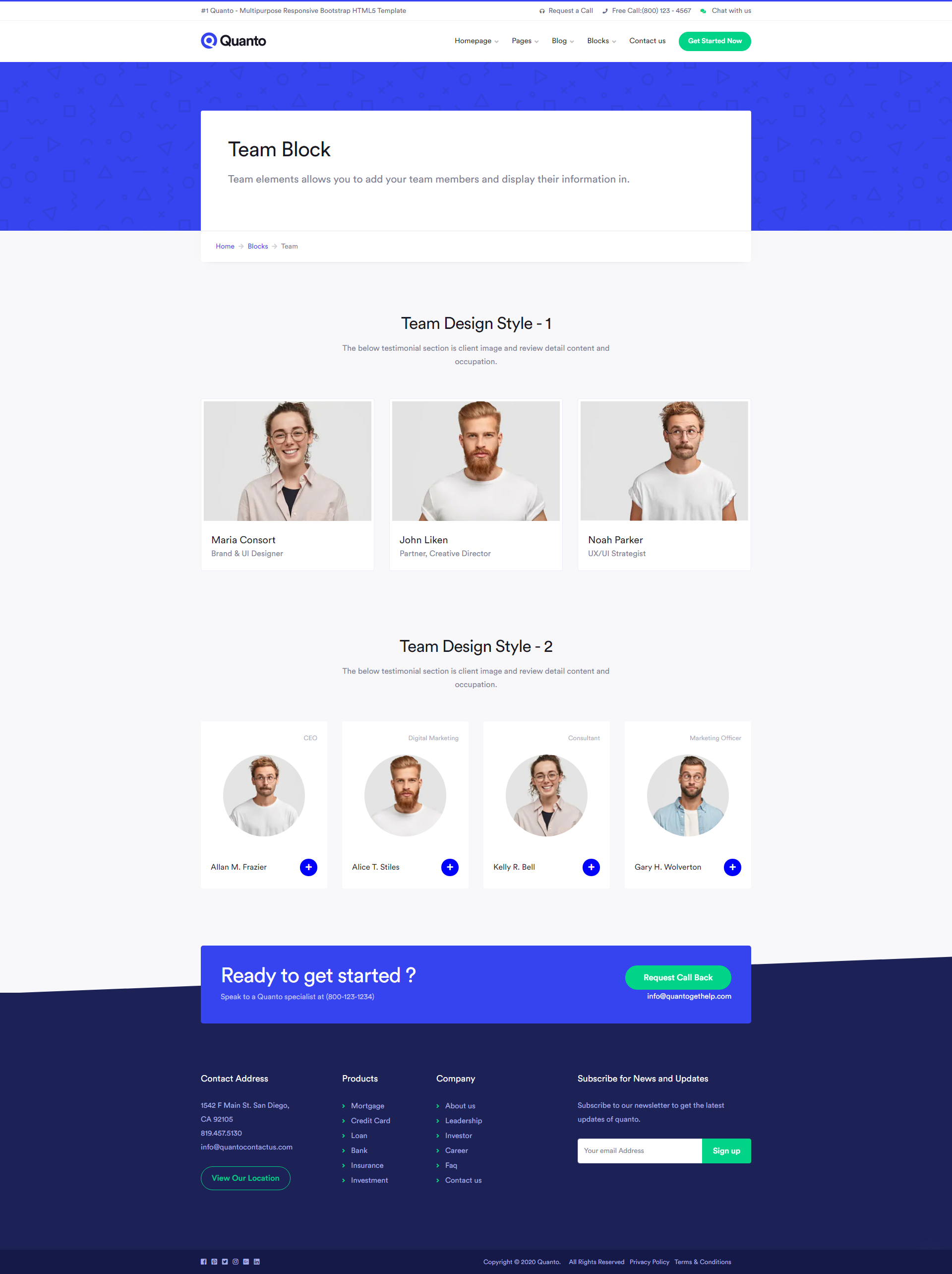 Quanto Creative Multipurpose Responsive Html Template Webpage Design Team Page Page Layout Design