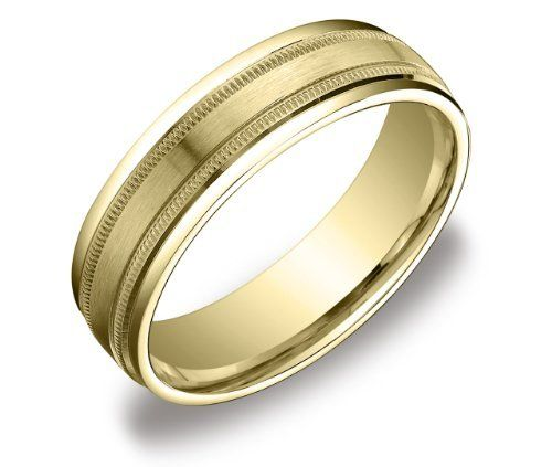 10K Yellow Gold mens and womens plain wedding bands 6mm Milgrain
