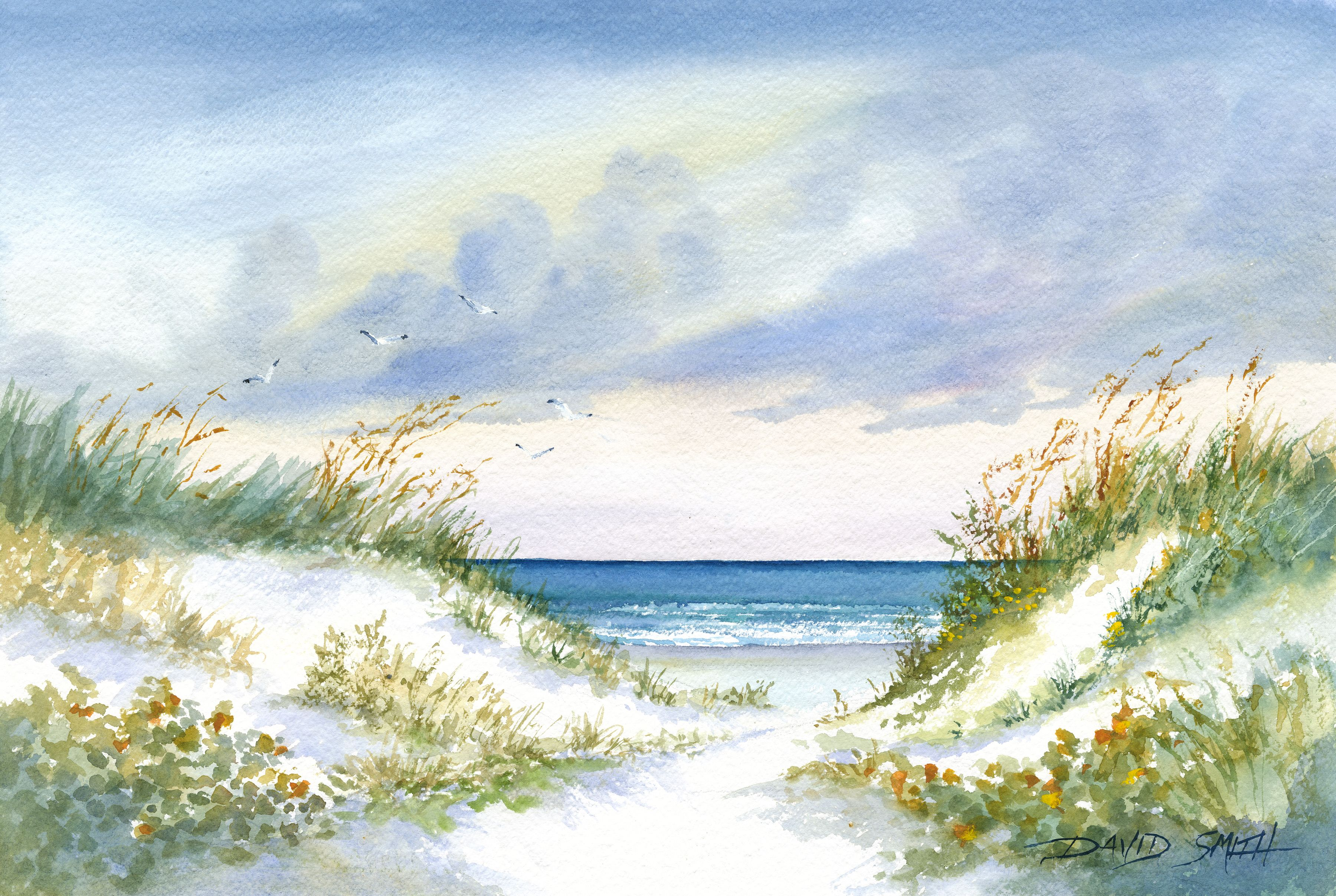 One Point Of View Pass A Grille Fl Watercolor By David Smith Go To Island Boy Studio On Facebook Beach Watercolor Watercolor Art