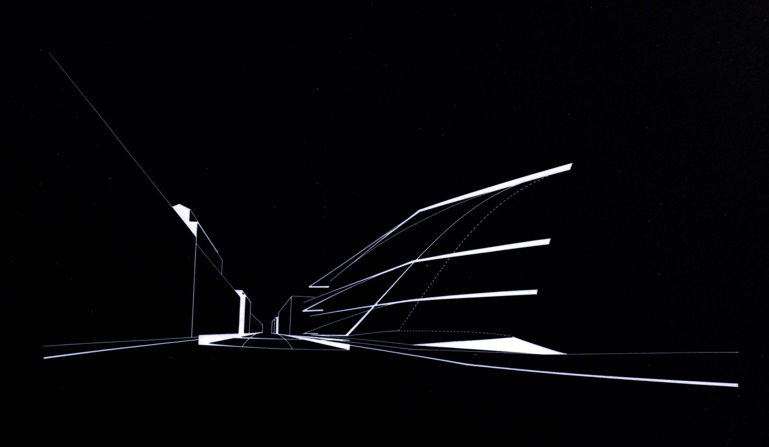 Zaha Hadid Style Perspective White On Black