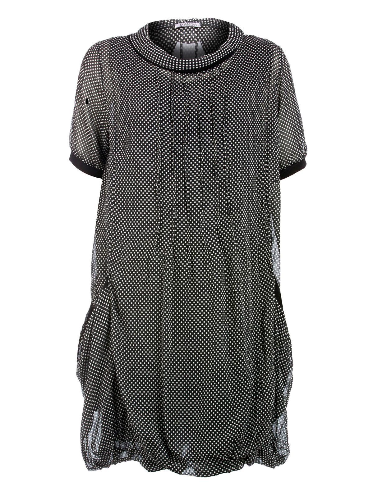 MANGA - Dotted Seide-Mischung Chiffon-Kleid - navabi  Kleidung, Seide