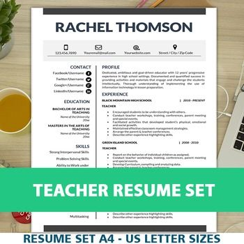 TEACHER RESUME Template for MS Word, Educator CV Download, Cover - can a resume be 2 pages