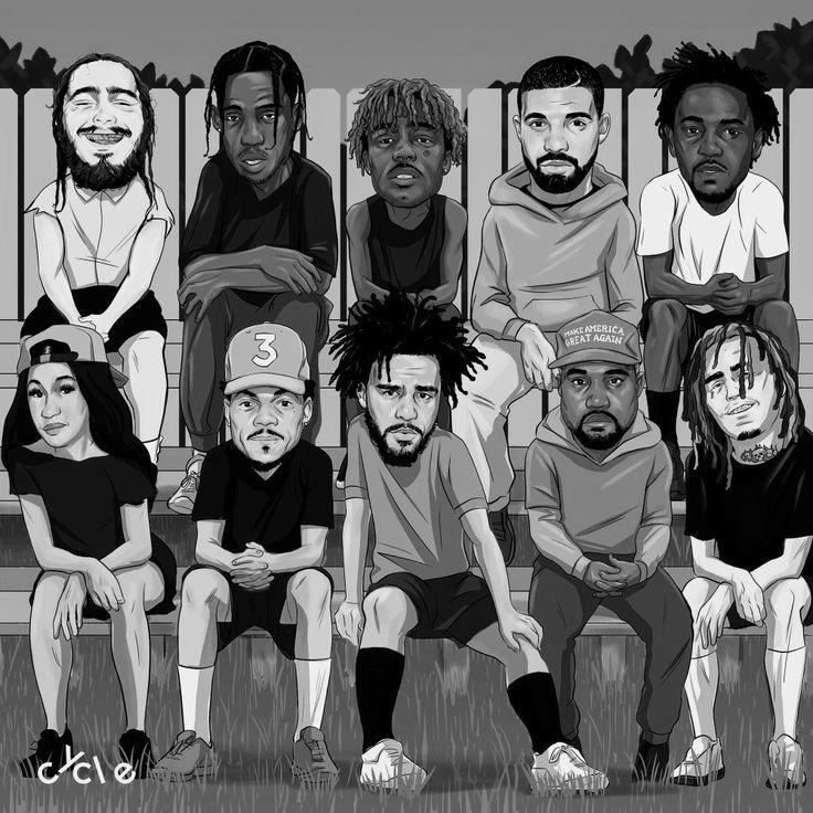 Musik Rap Hip Hop Lil J Cole Kendrick Sza Kanye Travis Scott Post Malo Rapper Art Hip Hop Illustration Hip Hop Art