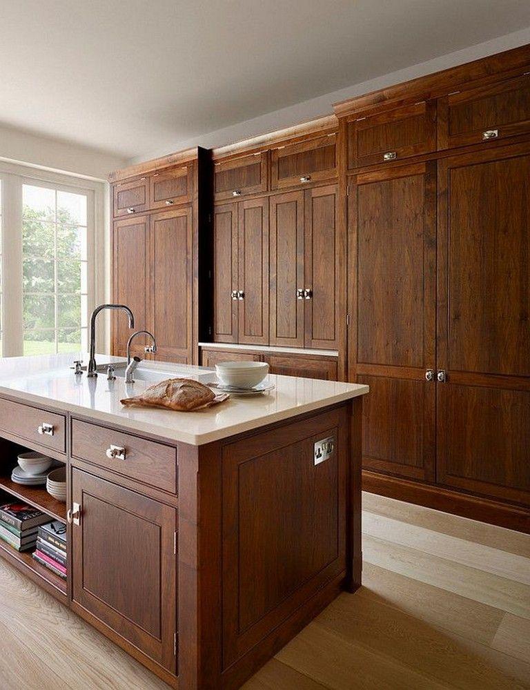 40+ Contemporary Walnut Kitchen Cabinets Design Ideas #darkkitchencabinets