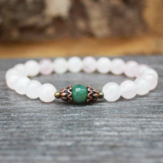 Rose Quartz Faceted Moss Agate Healing Yoga Bracelet
