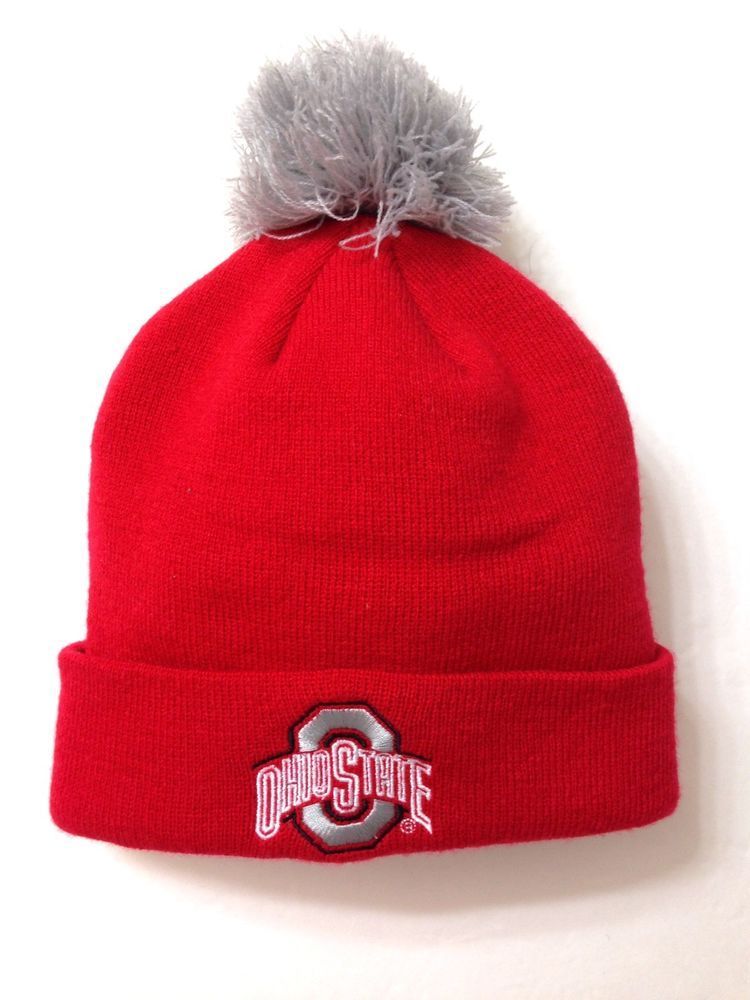 84bf1a00964eda OHIO STATE POM BEANIE Red Gray Winter Knit Cuff Ski Hat Men/Women OSU  Signatures #Signatures #OhioStateBuckeyes