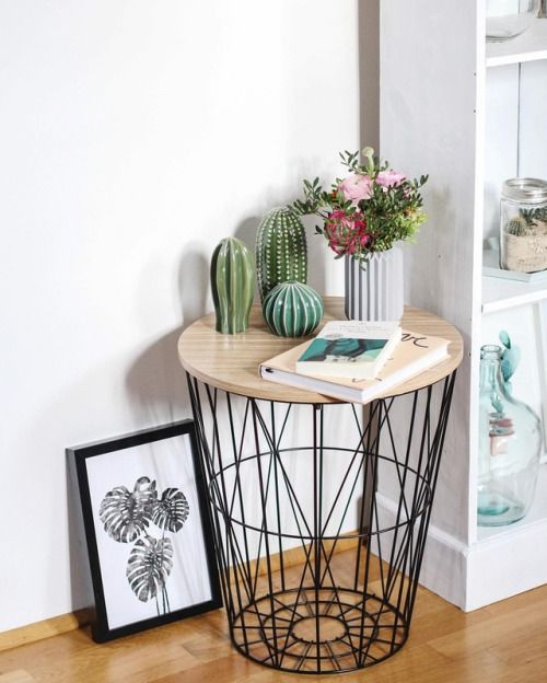 Tifmys Wire Basket Table With Ikea Cacti And Monstera Print