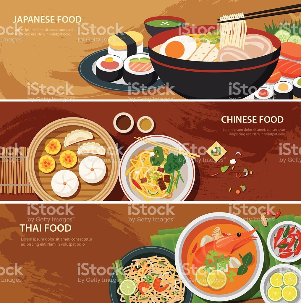 Asia Street Food Web Banner Thai Food Japanese Food Chinese Thai Recipes Food Poster Design Thai Street Food
