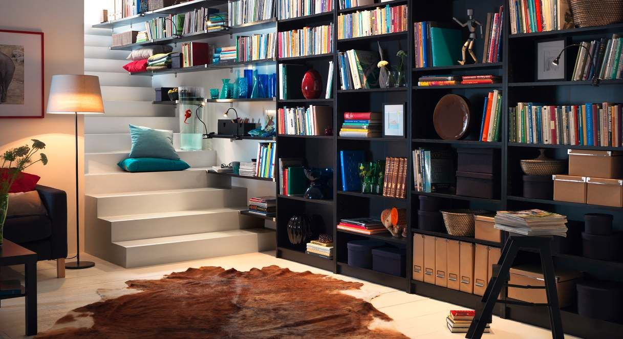 Home library open shelving--think back staircase