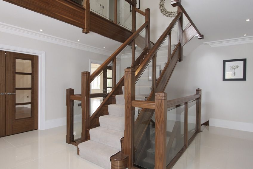 Best Walnut And Glass Stair Balustrade By Oakbridge Homes 400 x 300