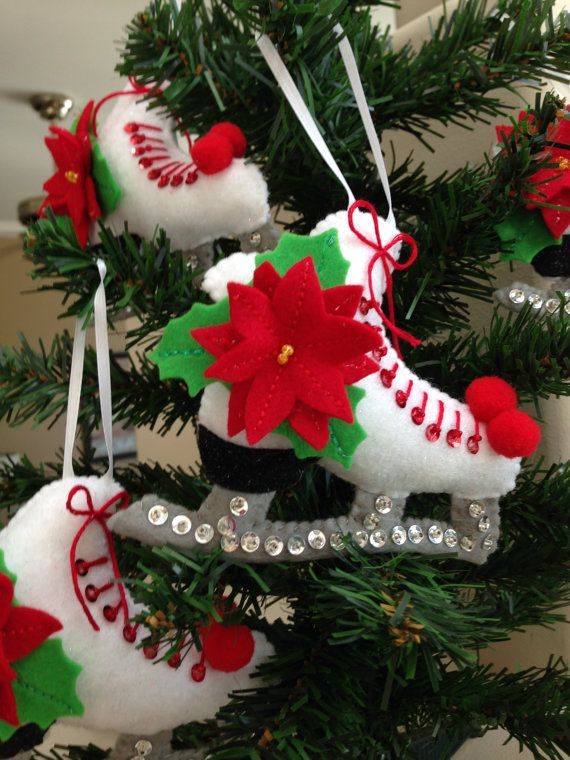 felt figure skating ice skating christmas by lindasornaments - Ice Skating Christmas Ornaments