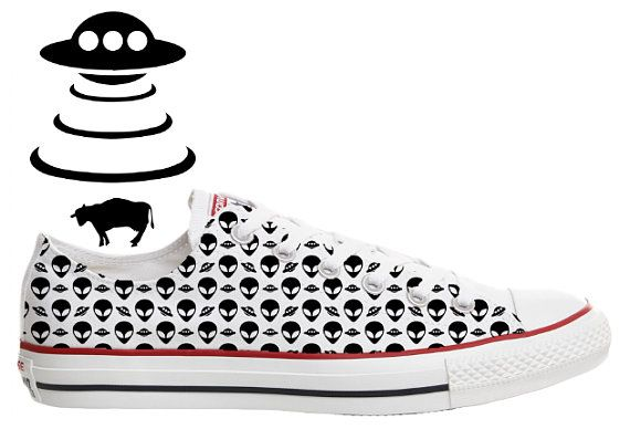 249ef689109 ufo alien grey flying saucer xfiles pattern illustrated custom converse low  top shoes
