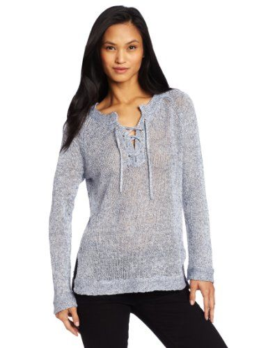 525 America Women's Tweed Lace Up Sweater