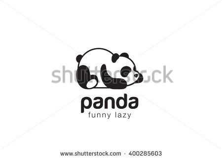 panda bear silhouette logo design vector template funny lazy logo panda animal logotype concept icon